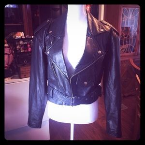 Cropped 1980s leather women's motorcycle jacket